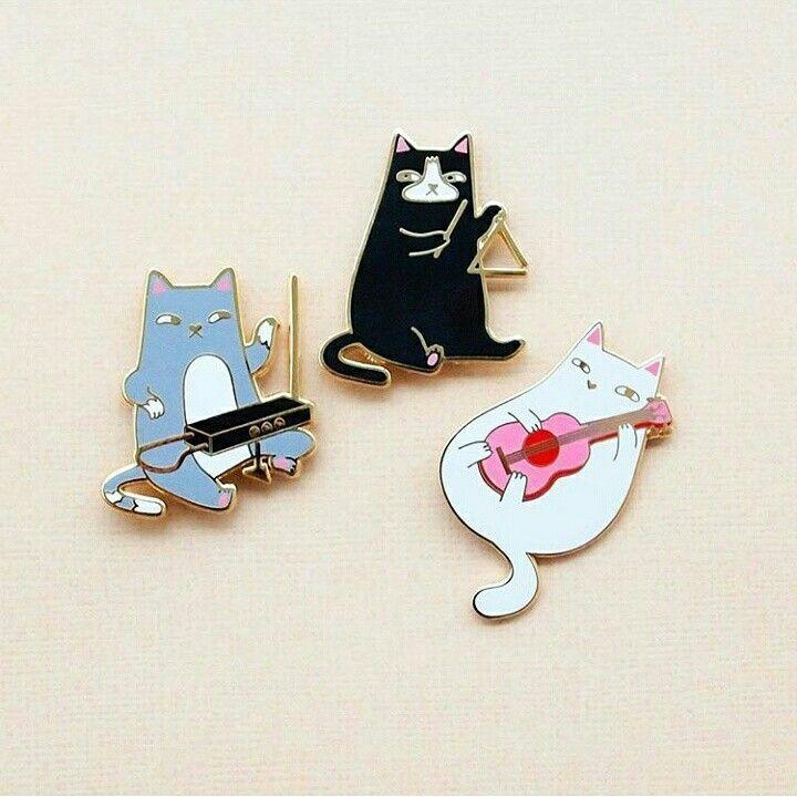 Cat Band Pins by Natelle Draws Stuff
