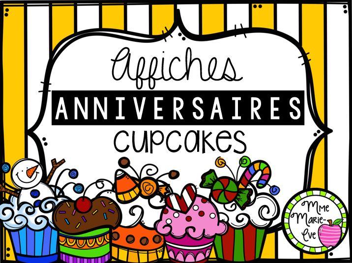 Voici 12 affiches de cupcakes correspondant aux 12 mois de l'année afin d'afficher les anniversaires de vos élèves. Vous pouvez écrire le nom de l'élève ainsi que le jour de sa fête sur une bougie et la coller, à l'aide de gommette, sur le cupcake du mois correspondant à son anniversaire. Ainsi, si vous plastifiez vos affiches de cupcakes, vous pourrez les conserver pour les années suivantes et vous n'aurez qu'à faire réimprimer la feuille de bougie.