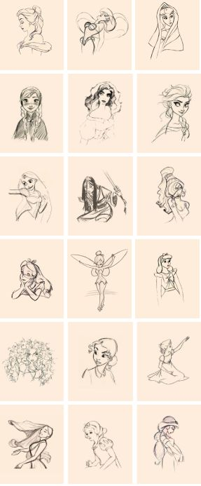 Belle, Ariel, Giselle, Anna, Esmeralda, Elsa, Rapunzel, Mulan, Meg, Alice, Tinkerbell, Aurora, Merida, Tirana, Wendy, Pocahontas, Snow White, Jasmine