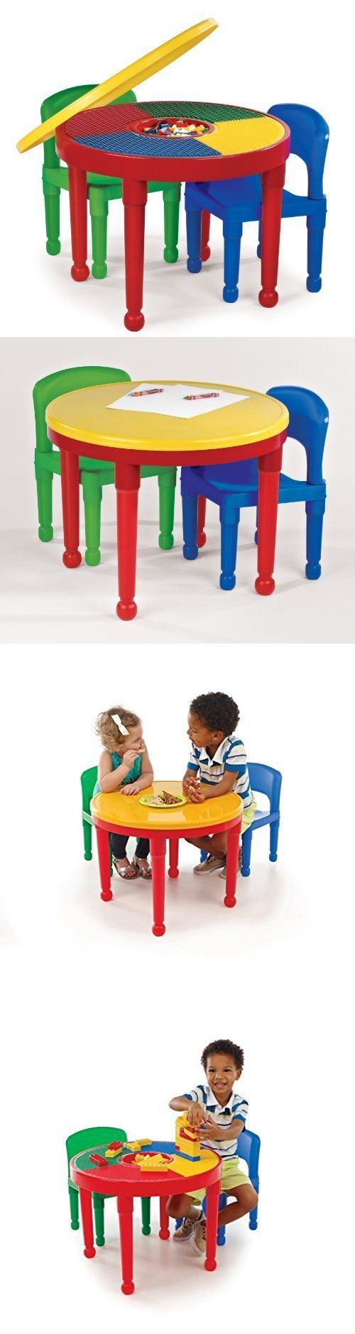 Storage Mats And Play Tables 180020: Lego Kids Table 2 Chairs Round Plastic  Construction Dining