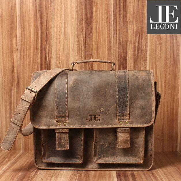 Leconi Collegetasche vintage Aktentasche Leder