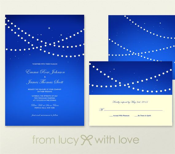 Bold Royal Blue Wedding Invitation and RSVP by FROM LUCY WITH LOVE https://www.etsy.com/listing/178395634/bold-wedding-invitation-and-rsvp-string