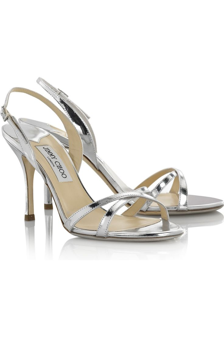 sensible silver bridesmaid heels for a pink dress. 3.5, Jimmy Choo