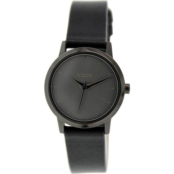 Nixon Women's Kenzi A3981531 Leather Quartz Watch ($100) ❤ liked on Polyvore featuring jewelry, watches, accessories, nixon, black face watches, black dial watches, leather wrist watch and nixon wrist watch