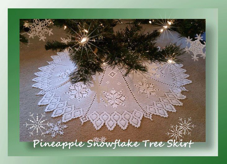 Crochet pattern for a Christmas thread filet snowflake tree skirt with pineapple edging