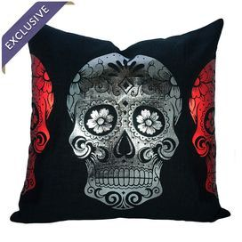 "Linen-blend pillow with a metallic sugar skull motif. Handcrafted in the USA exclusively for Joss & Main.   Product: PillowConstruction Material: Linen blendColor: Black, metallic graphite and metallic redFeatures:  Handmade by TheWatsonShopZipper enclosureMade in the USA Dimensions: 18"" x 18"" Cleaning and Care: Spot clean. Do not iron."