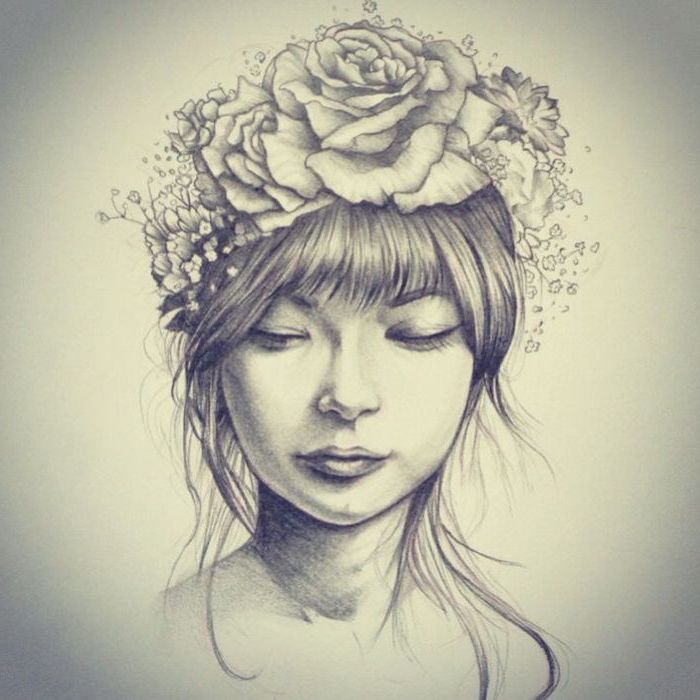 Woman With A Flower Crown Drwaing Pictures Of Flowers Black And White Pencil Sketch In 2020 Crown Drawing Flower Crown Drawing Flower Drawing