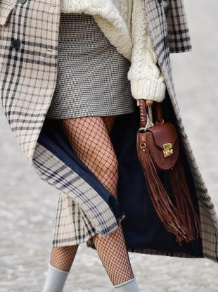 Tweed oversized coat with tweed mini-skirt, chunky knit sweater, leather clutch bag, and fishnet tights!