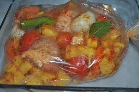 Fırın Poşetinde Tavuk İçin Gerekli Malzemeler 4 adet tavuk butu 4-5 adet patates 2 adet domates 2 adet biber 2 diş sarımsak 1 a...