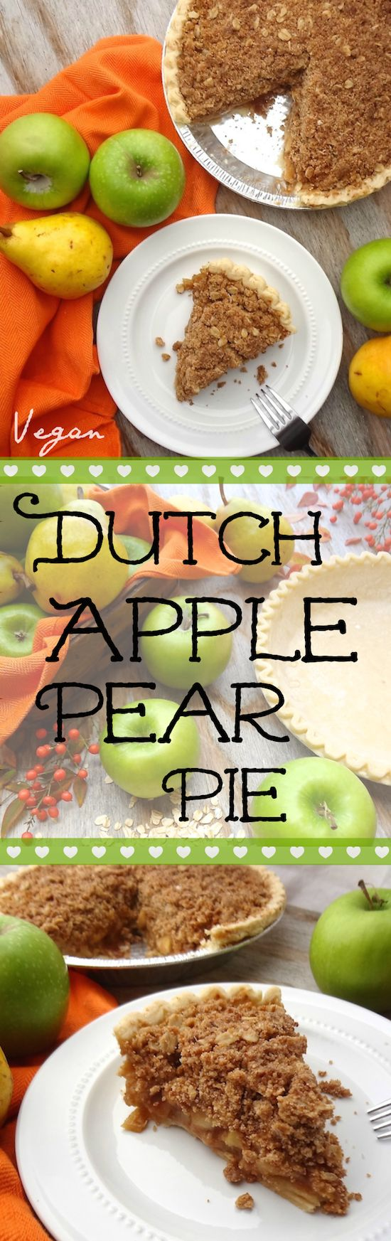 Vegan Dutch Apple-Pear Pie made with 9 simple ingredients and no refined sugar. – I could eat the whole pie myself, it's so good.  The sweet pears add another element to an otherwise, ordinary apple pie.