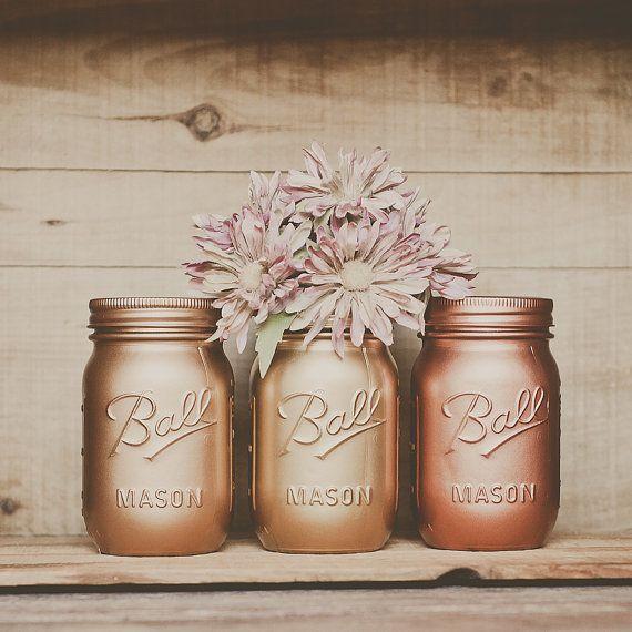 Painted mason jars. Vases. Centerpiece. Copper, Desk Accessories.  Wedding centerpiece, new years decor, party decor. Gold painted.