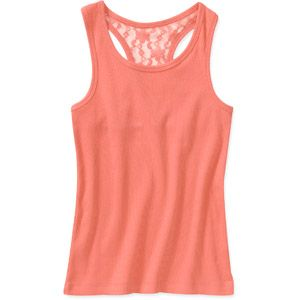Faded Glory Girls Tank with Lace Back- $4.88 at walmart.com- also available in white,black,yellow,and pink.