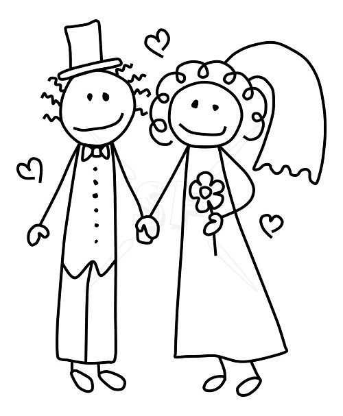 bride and groom clipart free - Bride And Groom Coloring Pages