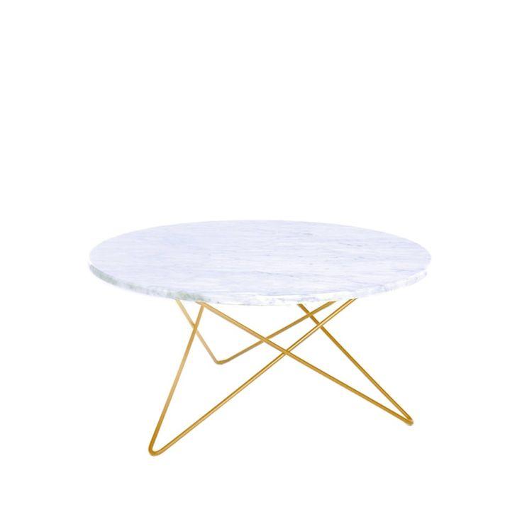 O Table soffbord - vit marmor med mässingstativ