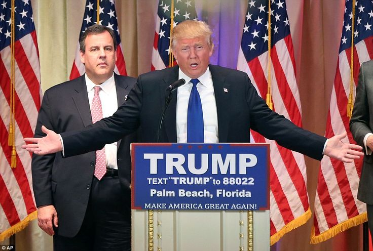 Donald Trump (pictured with New Jersey Gov. Chris Christie at the Super Tuesday primary election) is romping through the second biggest day in American politics – only November presidential elections are grander – etching his name on six trophies in the Republican party's Super Tuesday display case