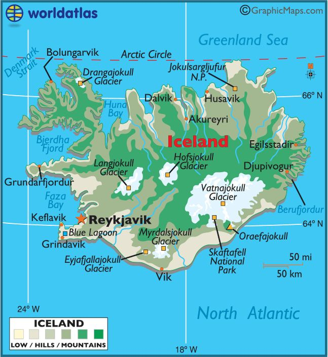Iceland large color map