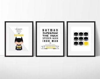 Print Set van Batman, Batman kunst aan de muur, jongens kamer Decor, superheld kunst, superheld Print, Batman Print, Super held Wall Art, 8 van 10