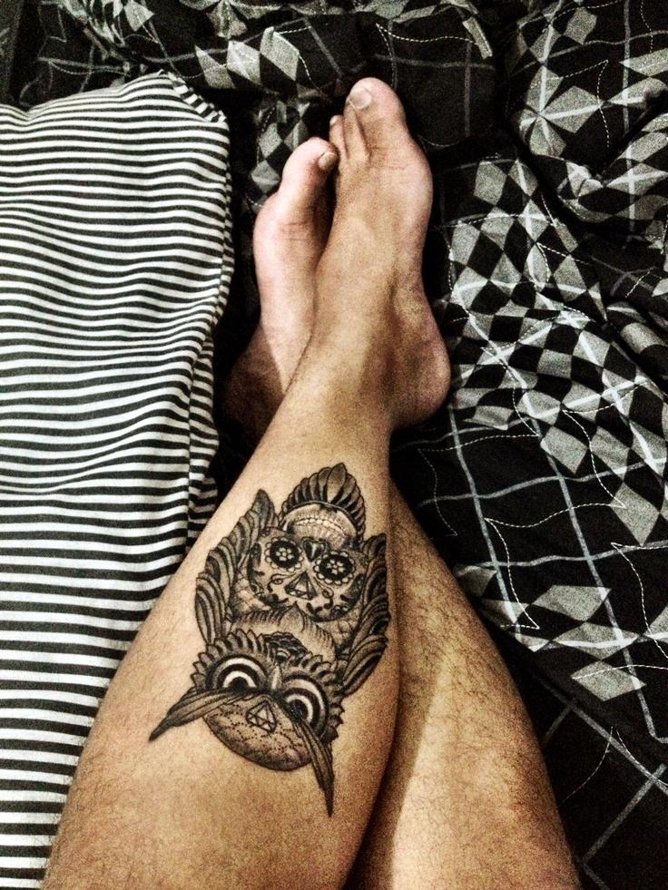 My 6º tattoo. <3 #owl #skull #tattoo