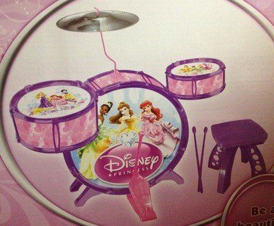 Disney Princess Kids Drum Set Kit! by Disney. $43.94. DISNEY PRINCESS JAZZ Drumset     Includes stool.     Includes drum sticks     Suitable for children 3 years and over     Requires no batteries Product Description Have an aspiring musician in the house that is in love with the Disney Princesses? Then they will love 3 piece Drum Kit Play Set! Easy to assemble by adults and it sure will provide hours of fun safely! This drums set comes with bass drum with foot ...
