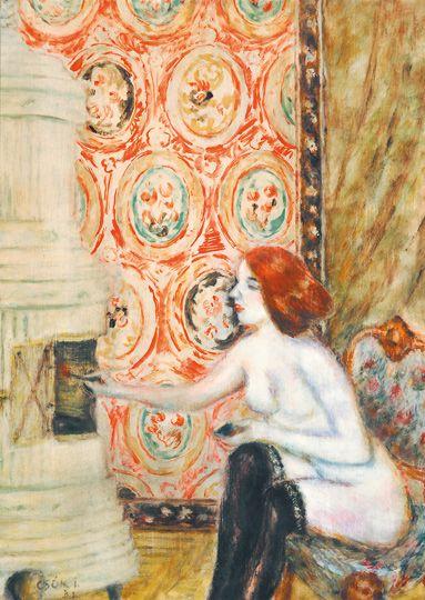 Csók, István (1865-1961) Nude next to the Fireplace