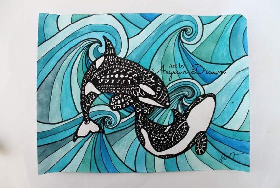 Whale Painting Orca Whale Zentangle Art Orca Whale by AegeanDrawn