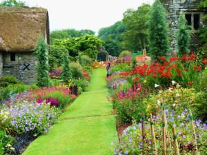 The Garden House, Devon.  This area on the lower garden is full of colour in late summer