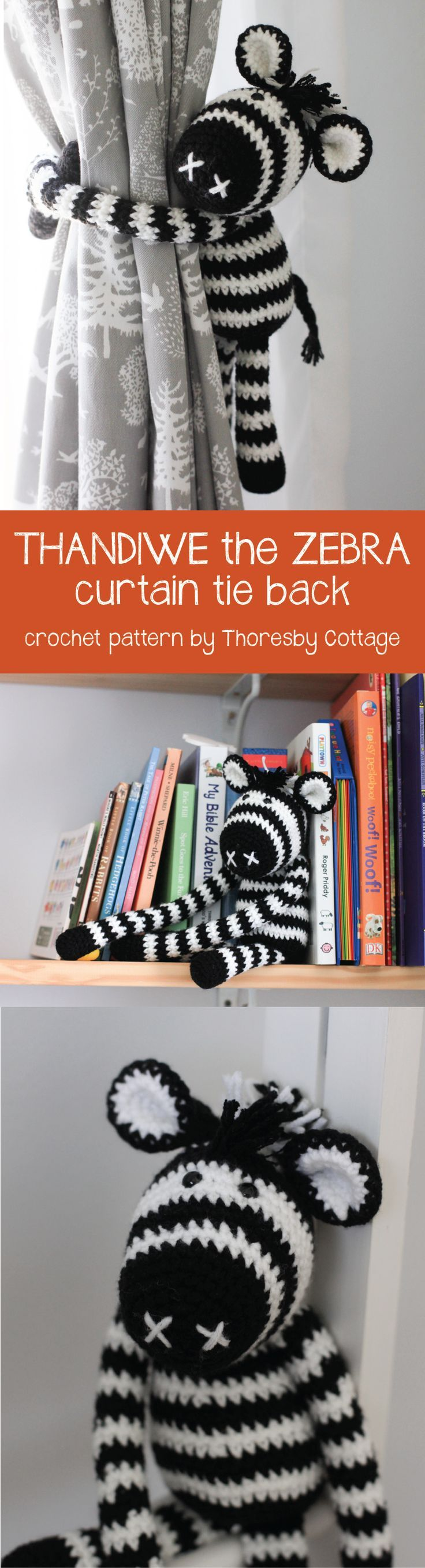 Crochet zebra curtain tie back. Ideal for a nursery or child's room.