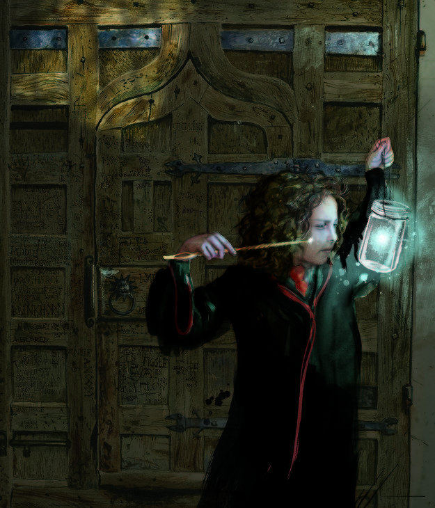 "Illustration of Hermione, who appears to be conjuring Bluebell Flames, which she used to set fire to Snape's robes during a Quidditch match, and also to save Harry and Ron from the Devil's Snare at the end of Sorcerer's Stone. | Here Are The First Images From The Fully Illustrated Edition Of ""Harry Potter"""