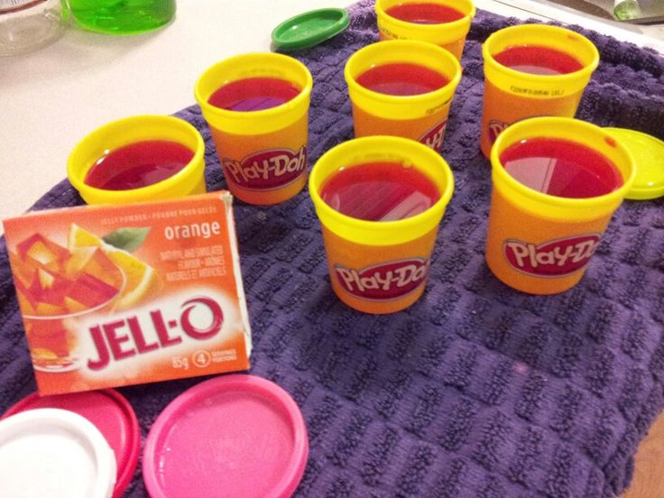 Jello made inside Play-doh containers for a play-doh themed birthday party!