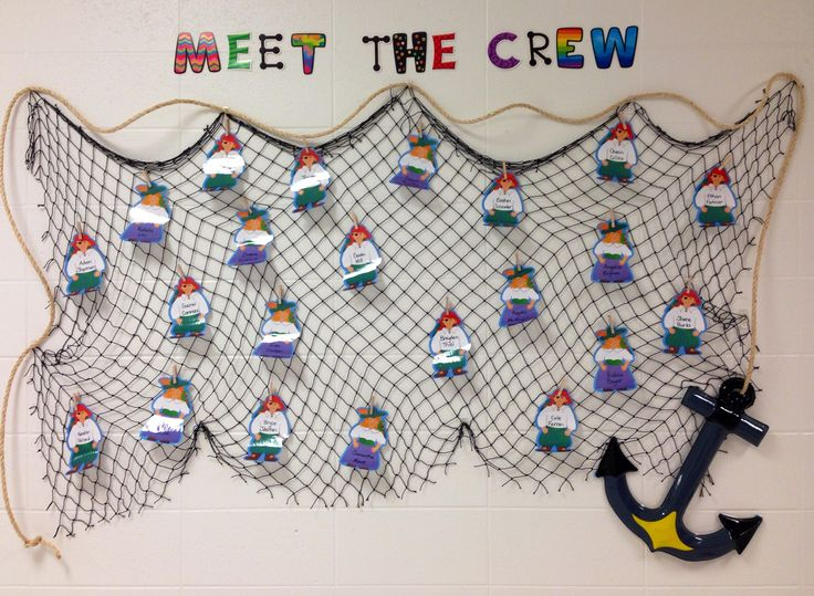 Pirate welcome back to school bulletin board. I ended up using sticky tack to get the pirates to lay flat. They where curly after laminating.