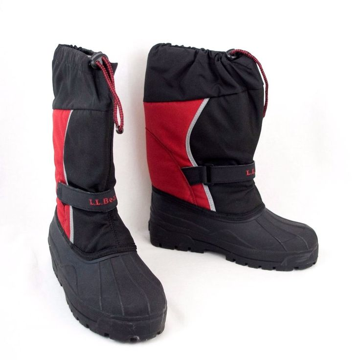 LL Bean Winter Boots Kids Size 7 Northwoods Red and Black  2 Sets Felt Liners #LLBean #Boots