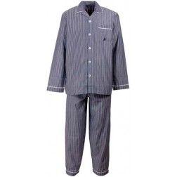 Klassieke heren pyjama - blauwachtig met verticale streepjes -