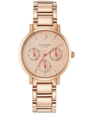 kate spade new york Women's Gramercy Rose Gold-Tone Bracelet Watch 34mm 1YRU0470 - Kate Spade - Jewelry & Watches - Macy's