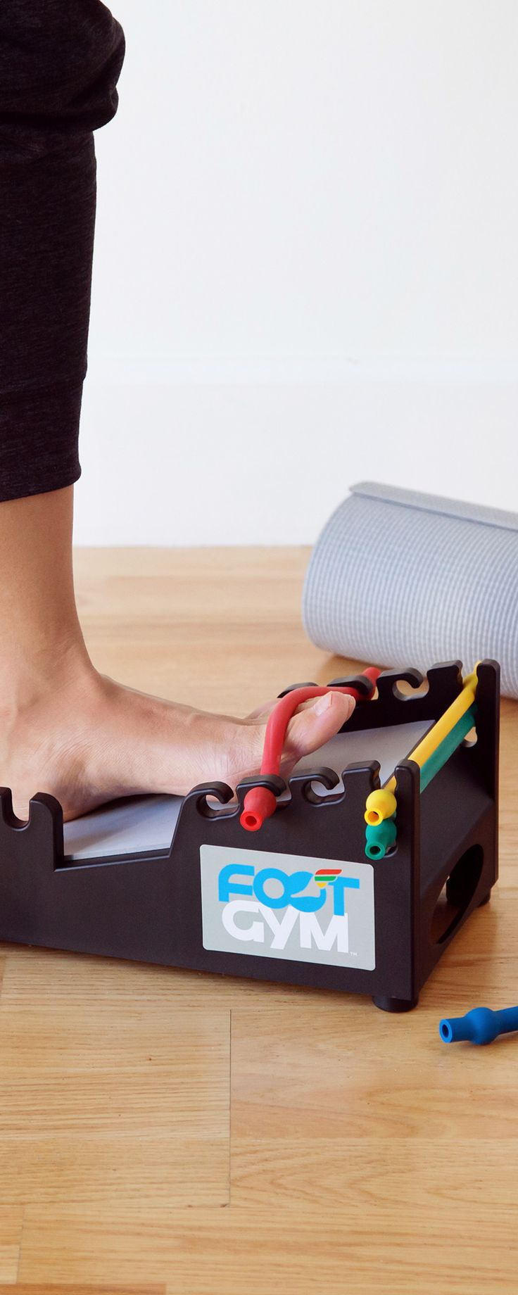 Boost foot and ankle strength for better balance and more. This all-in-one exercise station provides resistance training, stretching, and massage in a compact design.