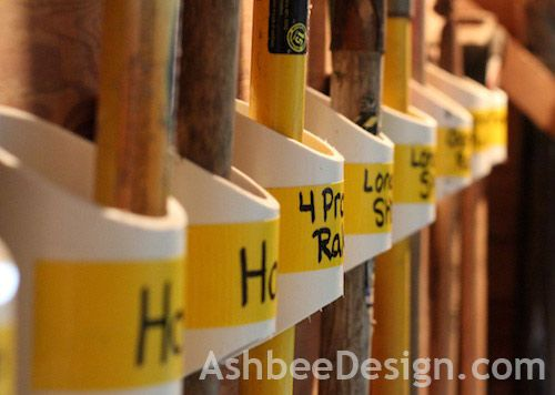 Ashbee Design -Organizing garden tools with PVC: Garages Organic, Garden Tools, Tools Organic, Organizing Tools, Gardens Tools, Organic Gardens, Pvc Pipes, Ashbee Design, Organic Tools