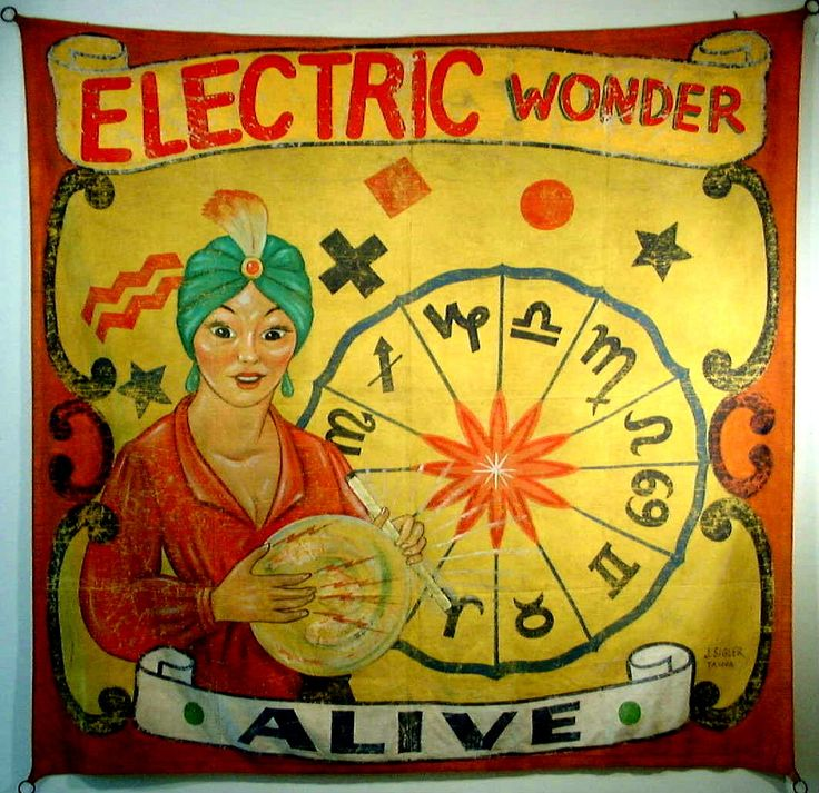 """Electric Wonder -- Alive"" These banners were used in the 1940's and 1950's in the US to advertise ""monsters"" shows and exotic creatures at carnivals."