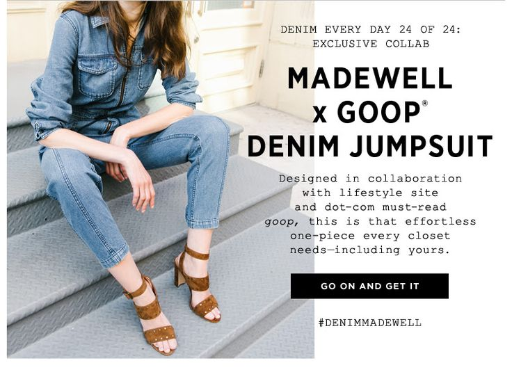 Madewell. Goop. Exclusive. Collab.  layering overlapping text