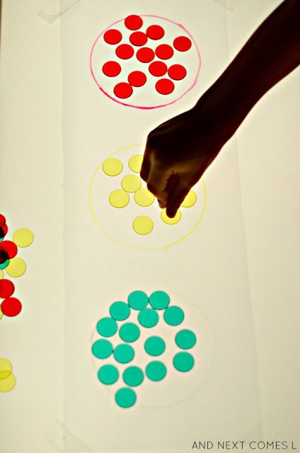 Traffic light inspired color matching light table activity for kids from And Next Comes L