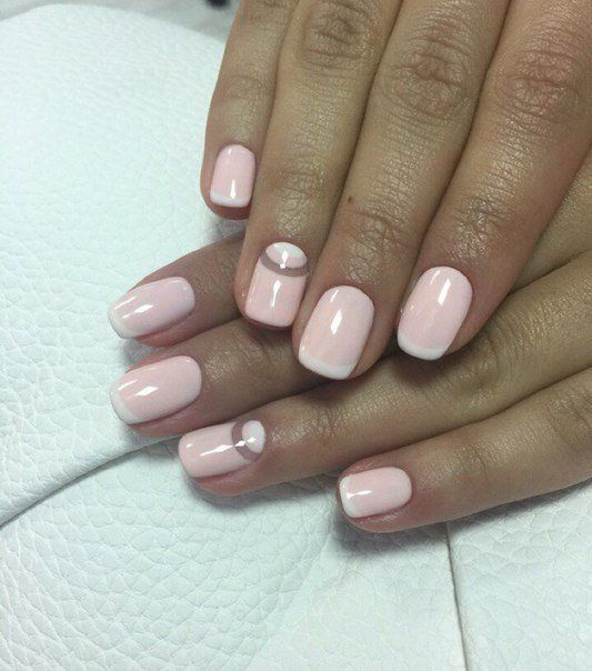 Beautiful nails 2016, Delicate french manicure, Moon French manicure, Nails trends 2016, ring finger nails, Romantic nails, Shellac nails 2016, Short french manicure
