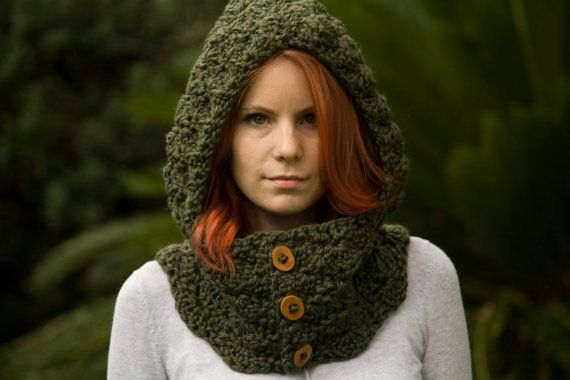 Free Crochet Hooded Cowl Patterns | Hooded Cowl, Wood Button Crochet hooded scarf, Olive green on Wanelo