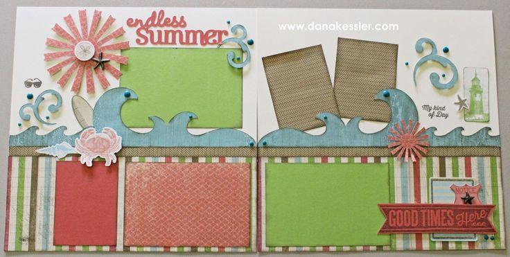 Two page scrapbooking layout beach summer Seaside CTMH Cricut #scraptabulousdesigns #cricut #ctmh