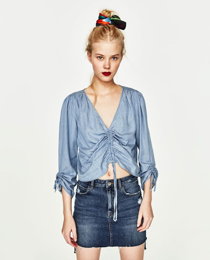 RECYCLED FABRIC TOP WITH BOWS-Blouses-TOPS-WOMAN | ZARA United States