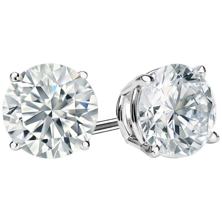 10.00 Carat Round Brilliant Cut Diamond Stud Earrings 18k White Gold Setting