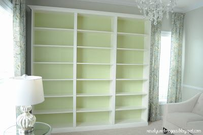 Faux built in bookshelves start with cheap bookcases from for Do it yourself built in bookshelves