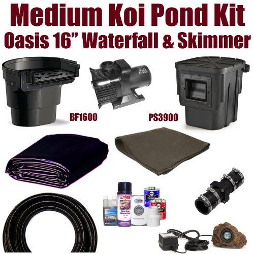 15 x 20 medium koi pond kit 3 000 gph pump atlantic oasis for Koi pond skimmer installation