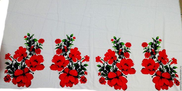 Купить Роскошный шелк креповый с крупными маками 30см, ширина 142см - ярко-красный