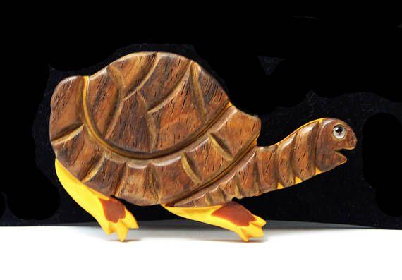 Large Bakelite & Wood Turtle Brooch Mustard Yellow and Brown