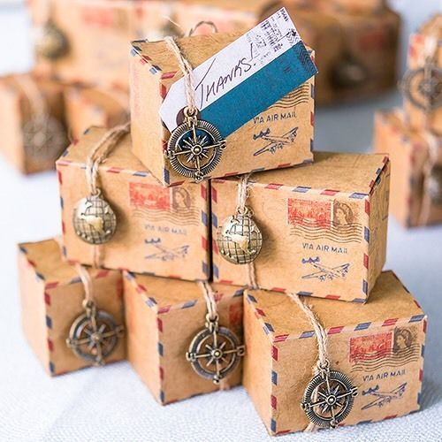10 Vintage Airmail Wedding Favour Gift Box