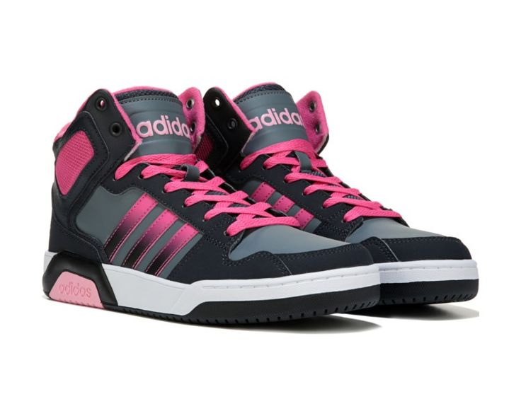 Update her sporty style with the adidas Neo Raleigh BB9TIS High Top Sneaker.Nubuck and textile upper in a high top athletic basketball shoe styleLace-up front, padded tongue and collarSoft textile liningCushioning OrthoLite® socklinerLogo detailsColorblocked rubber cupsoleRubber traction outsole