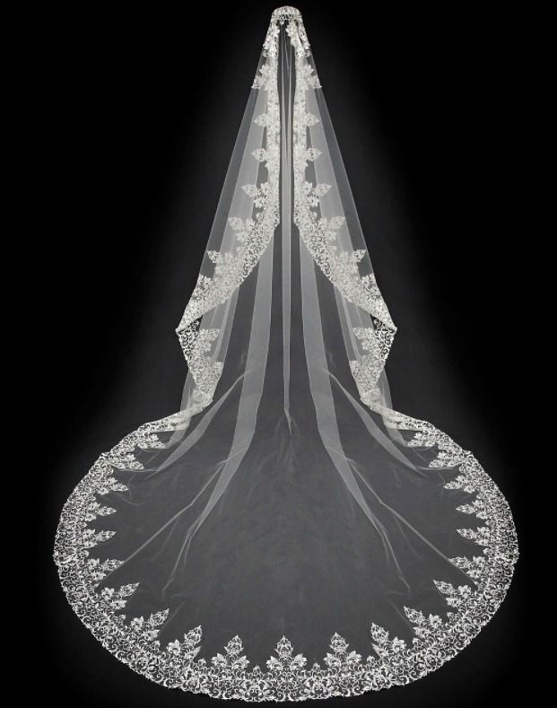 """Exquisite! 144"""" Long Royal Cathedral Length Mantilla Embroidery Wedding Veil  -- Affordable Elegance Bridal -"""